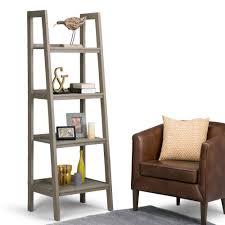 simpli home sawhorse distressed grey ladder bookcase 3axcsaw 05 gr
