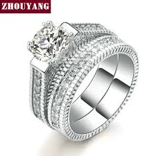 set ring silver color luxury 2 rounds bijoux fashion wedding ring set cubic