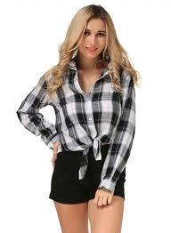 Black And White Plaid Shirt Womens Womens Button Down Shirts Best White U0026 Black Button Down Shirts