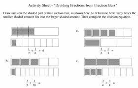 worksheets on dividing fractions fraction bars to learn fraction division worksheet educational