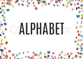 abstract colorful alphabet ornament border isolated on white