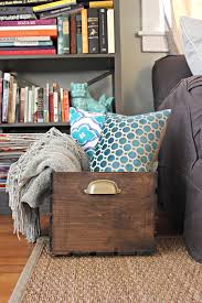 old and vintage wooden diy blanket storage box in living room