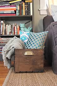 old and vintage wooden diy blanket storage box in living room