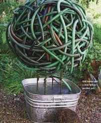Recycled Garden Art Ideas - garden note 16 old hoses nibs