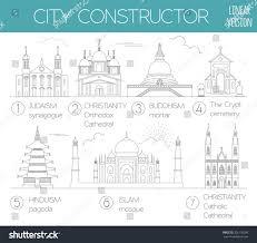 big set city generator house constructor stock vector 326130026