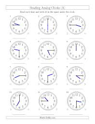 Time Clock Worksheets Reading Time On 12 Hour Analog Clocks In 15 Minute Intervals A