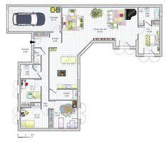 plan de maison en v plain pied 4 chambres plan de maison plein pied en v pinteres