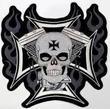 iron cross skull v2 biker chopper outlaw motorcycles mc outlaw biker