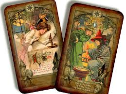 vintage halloween treat cards from the samhain deck of the