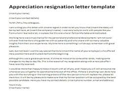 appreciation resignation letter template just letter templates