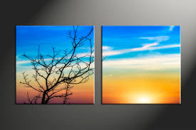 Landscape Canvas Prints by 2 Piece Green Landscape Nature Purple Canvas Artwork