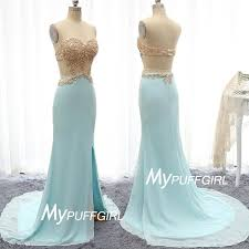 aqua fitted open back slit prom dress with beaded lace bodice and