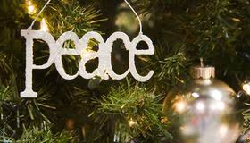 silver peace ornament stock photo image of