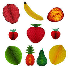 Paper Pineapple Decorations 10 Piece Assorted Large Honeycomb Tissue Paper Fruit Decorations