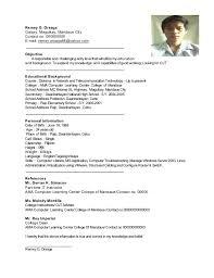 sample resume format for ojt information technology resume