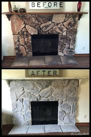 diy stone fireplace makeover installing mantel faux surround