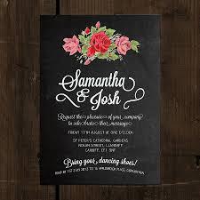 floral chalkboard wedding invitation by feel wedding