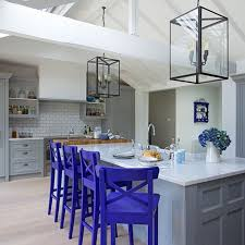 Neutral Kitchen Ideas - 18 brilliant kitchen bar stools that add a serious pop of color