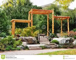 garden corner stock image image of view wood gate 48706815