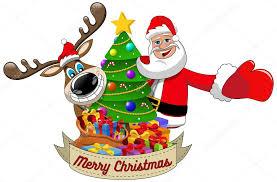 imagenes de santa claus feliz navidad dibujos animados graciosos renos y santa claus deseando feliz