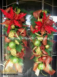 christmas mesh door swags with bells set of two 150 00 via