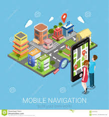 Flat Map Of The United States by Mobile Gps Navigation Concept Smartphone On Map Of The City
