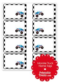 printable monster name tags shark monster truck name tags printable treats com