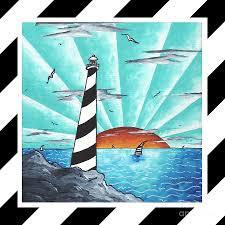 Seeking Painting Coastal Nautical Decorative Original Painting Stripes Light