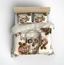 royal blue flower watercolor skull bedding cream royal blue
