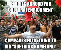 Cultural Memes - studies abroad for cultural enrichment compares everything to his