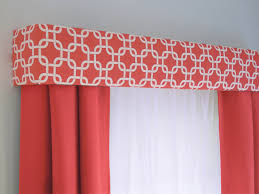 coral geometric cornice board valance window treatment