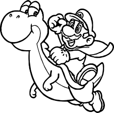 super mario and yoshi fly coloring page wecoloringpage