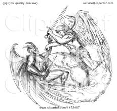 clipart of a tatoo sketch of saint michael the archangel angel