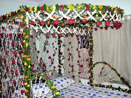 Romantic Bed Decoration For Wedding Night Flowers Wedding Bed Decoration Party Themes Inspiration