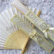 cheap wedding fans silk fan wedding party favors with laser cut gift box