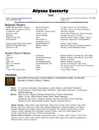 Music Resume Example by Musical Theatre Resume Best Template Collection