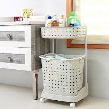 Laundry Hamper With Wheels by Basicwise 2 Tier Plastic Laundry Basket With Wheels Qi003311 The