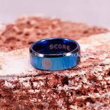 chicago wedding band blue tungsten band with beveled edge mlb baseball chicago cubs