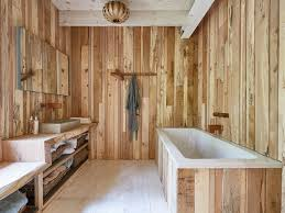 the timber wall clad wooden bathroom from the steam bent house by
