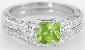 birthstone engagement rings princess cut peridot engagement ring and matching wedding band