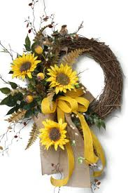 Sunflower Mesh Wreath Sunflower Front Door Wreath Country Wreath Fall By Floralsfromhome