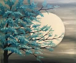 paint nite teal tree in moonlight saultonline