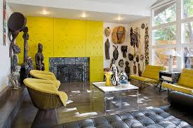 Yellow Chairs Upholstered Design Ideas Themed Living Area Yellow Textured Siding And Tufted