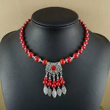 boho bib necklace images Bohemian style glass simulated pearl beads necklace metal leaf jpg