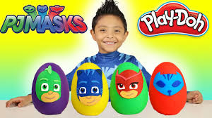 pj masks play doh surprise eggs disney review episodes kids