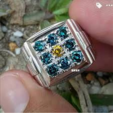 model berlian terjual cincin pria blue diamond model stempel berlian biru memo