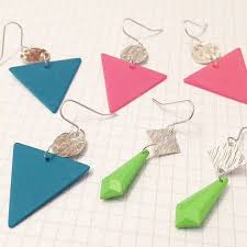 eighties earrings neon blue upcycled eighties earrings triangle sterling silver