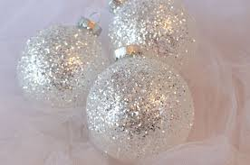 silver christmas white silver glitter christmas tree ornaments two