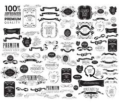 black vintage ornaments with labels and ribbon vector 03 vector