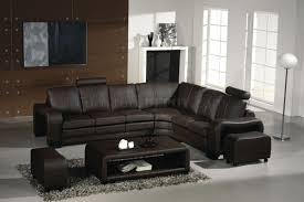 3330 espresso leather modern sectional sofa w coffee table
